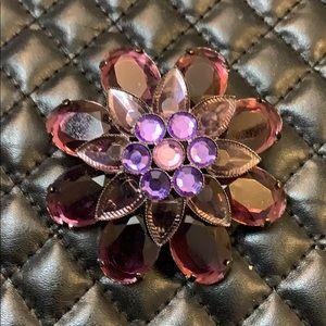Vintage Purple Rhinestone Floral Brooch